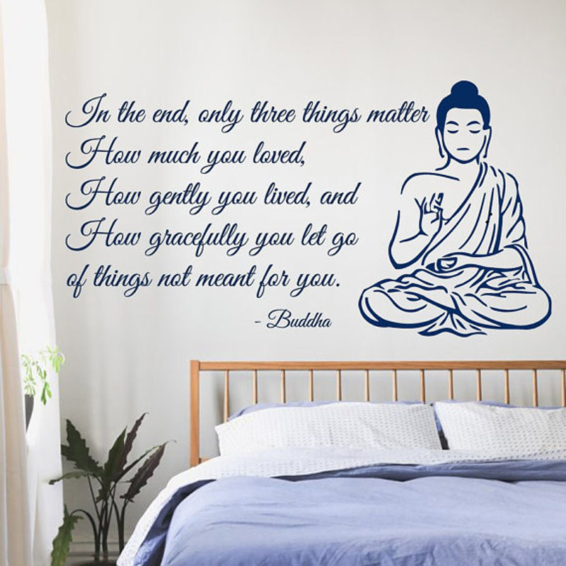 Meditating Buddha Wall Decals Quote Home Interior Design Art Word Writting Mural Yoga Bedroom Art Mural Decoration In Wall Stickers From Home Garden On