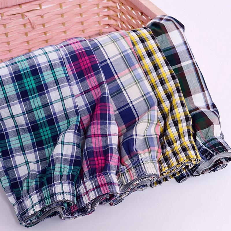 Men Boxer Shorts Classic Trunks Male Cotton Plaid for Radom-Colors 4pieces/Lot Cuecas