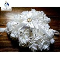Free Shipping NEW Elegant Rose Wedding Favors Heart Shaped Design Gift Ring Box Pillow Cushion