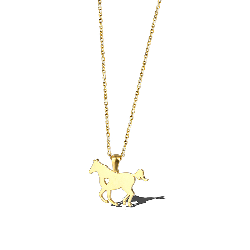Equestre Cavalo Cavalo Coração Jóias de Ouro de Aço inoxidável Jóias Melhores Presentes da Jóia Colar de Cowboy Cowgirl