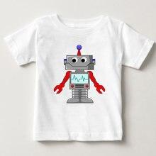Модные Мультяшные футболки для мальчиков и девочек детские белые