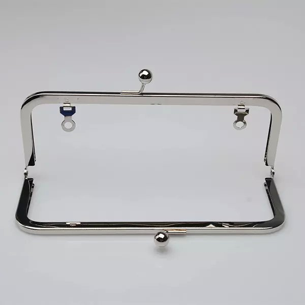 6 x 3 inches (15 x 7.5 cm) - Silver Purse Frame with Chain Loops