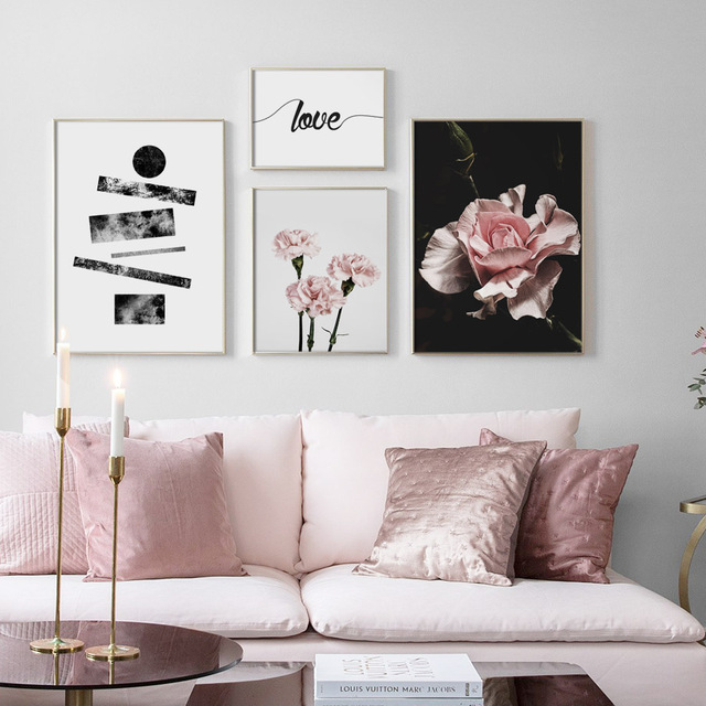 Pink Flower Love Quotes Wall Art Canvas Painting Pop Art Nordic