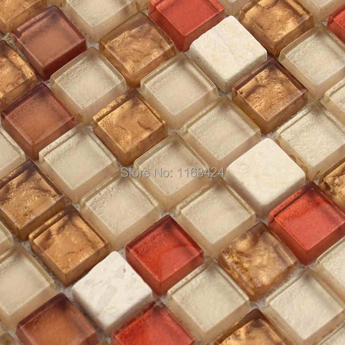 red mixed brown color glass mosaic tiles for kitchen