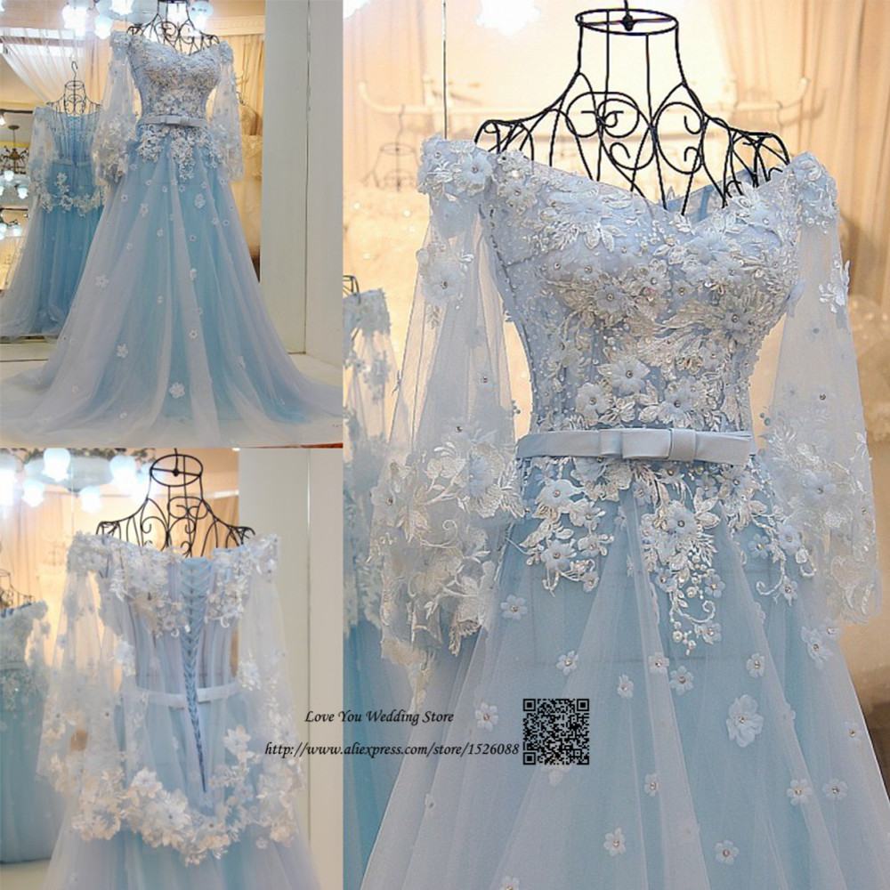 Trouwjurk light blue wedding dress boho vintage wedding for Light blue and white wedding dresses