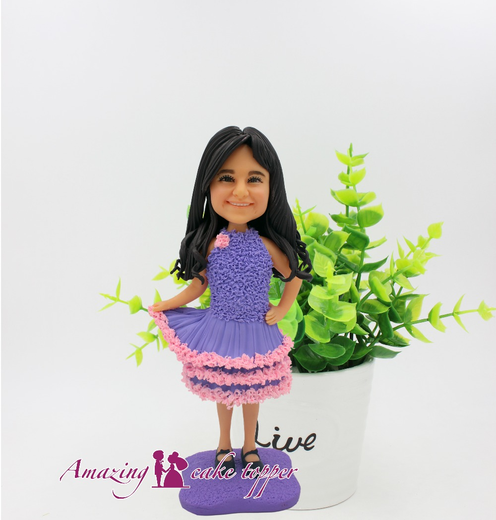 2018 AMAZING CAKE TOPPER Toys Cute little girl purple skirt And Groom Gifts Ideas Customized Figurine Valentine's Day