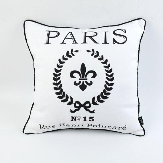 18 * 18 Decorative Shabby Chic White Paris Peach Skin Mircofiber Throw Pillow Case Cushion Cover for Sofa