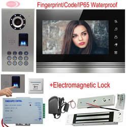 Главная Видео-телефон двери 7 дюймов сенсорная кнопка Видео Интерком отпечатков пальцев/код с электромагнитный замок разблокировать IP65