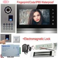 Home Video Door Phone 7Inches Touch Button Video Intercom Fingerprint/Code With Electromagnetic Lock Unlock IP65 Waterproof Kit