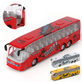 2017New Kids Toy Alloy Bus Model Pull Back Action Openable Door Sound Light Vehicle Gift