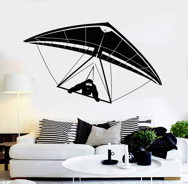 New Vinyl Wall Decals Hang Gliding Glider Design Air Sports Stickers Art Murals Removable Home Decoration