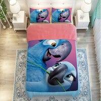 3D Parrot Bird Bedding Sets,3/4pc duvet cover without filler,100% Polyester King Queen Twin Size Bird Parrot Bedspreads Sheet