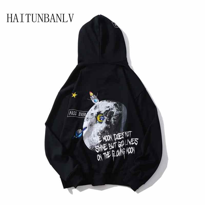 Del Casual De Sudadera Moda Sudaderas Estrella Hop Nueva Hombres Con Los Harajuku Impresión Negro Bordado Hip Capucha Galaxy blanco 5nH8Yxz
