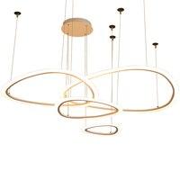LED chandelier modern minimalist ring combination chandelier hall fashion atmosphere Nordic villa living room dining room lamp