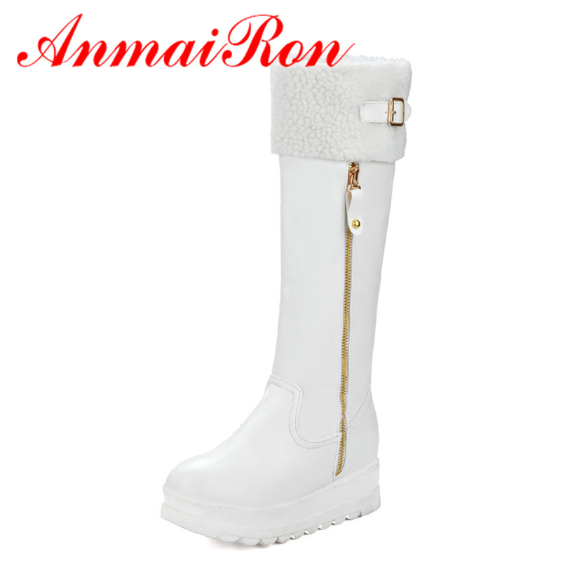 ANMAIRON White Shoes Woman High Heels Wedges Platform Shoes Winter Warm Knee-high Boots Zippers Buckle Charms Round Toe Boots anmairon long boots shoes woman high heels round toe lace charms big size 34 43 over the knee boots platform white shoes