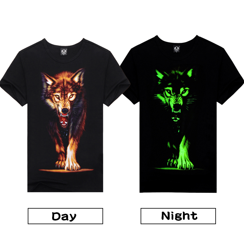 Novelty 3D Men's wolf   T     shirt   Cool wolf Printed   t     shirts   summer Casual 3D Short Sleeve glow in the dark   T  -  shirts   good quality