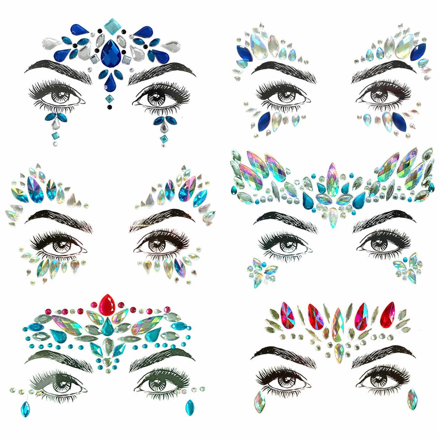 d271039018 1PC Christmas DIY Eyebrow Face Body Art Adhesive Crystal Glitter Jewels  Festival Party Eye Tattoo Stickers Makeup Xmas Decor