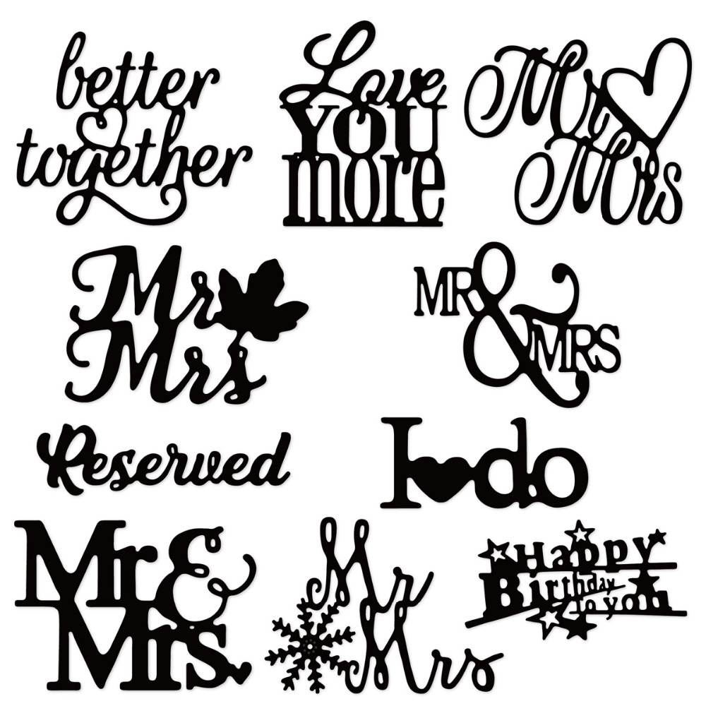 Swovo Wedding phrase words letters Metal Cutting Dies