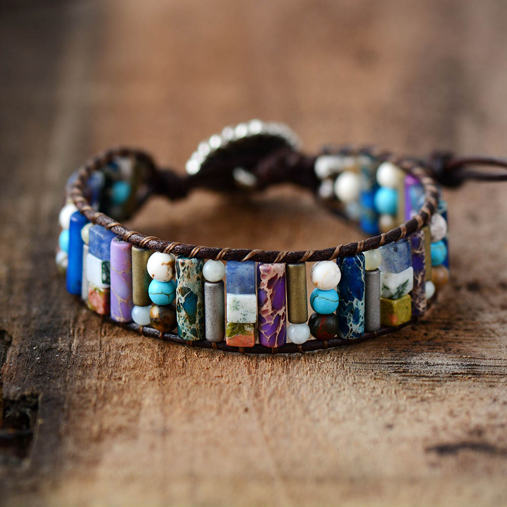 Women Boho Bracelet Tube Shape Natural Jasper Stone Single Leather Wrap Bracelet Semi Precious Stone Beaded Cuff Bracelet  bracelet
