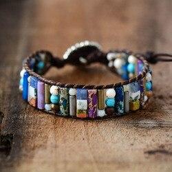 Frauen Boho Armband Rohr Form Natürliche Stein Einzigen Leder Wrap Armband Semi Kostbare Stein Perlen Manschette Armband Dropship