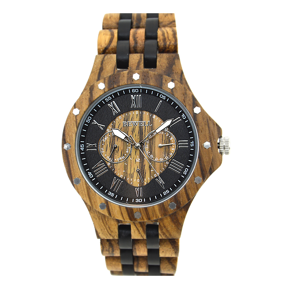 BEWELL Mens Watches Wooden Brand Luxury Stylish Watch Wood & Stainless Steel Chronograph Military Quartz Watch for Men 116C sihaixin wood watches men business luxury stop watch with stainless steel case wooden chronograph military quartz red wristwatch