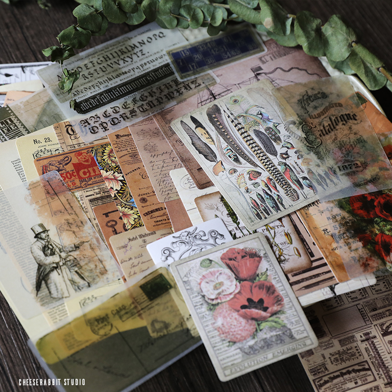 50 old newspaper pagesvellum paper stickers for