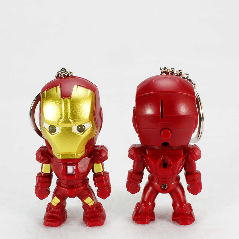 Iron Man Keychain With LED Flashlight And Sound Minions Gold Silver Led Keychain Cute Action Figure gift For Handbag Car Keyring