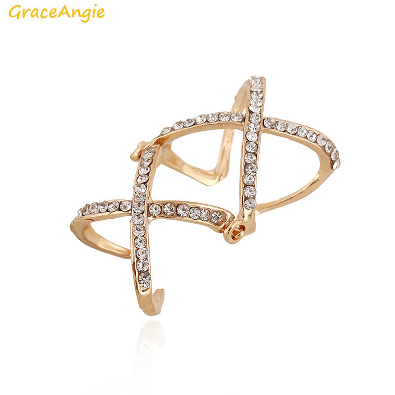 GraceAngie 1PC Double Adjustable Cross Shape Finger Joint Ring Shining Crystal Decored Trending Women Party Jewelry 18mm Inside