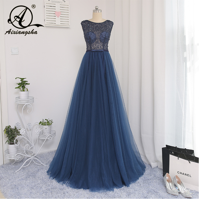 c7ed4e47fad 2018 Dark Blue Prom Dresses Appliques Scoop Tulle Lace Up Back With Train  Sashes Charming Handmade Plus Size Customized Real Pic