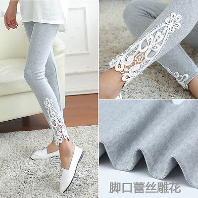 2018 New Fashion Womens Lace Crochet Sexy Skinny Fitness Leggings Stretch Jeggings Pants Women Trousers Clothings