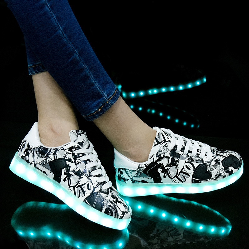 Image 2 - Size 27 42 LED Shoes Luminous Sneakers Light Shoes Glowing Sneakers with Luminous Sole Basket for Boys&Girls Kids Feminino TenisSneakers   -