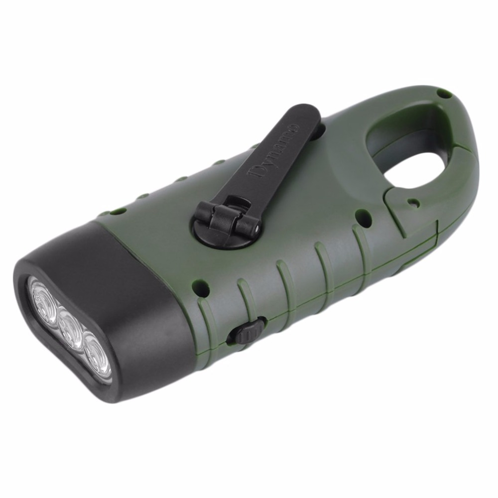 Hand Held Crank Dynamo Solar Power Rechargeable LED Flashlight 3-LED Army Green drop shipping