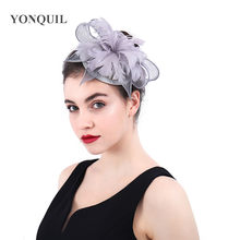 Flower Feather linen Fascinators for Evening Cocktail Party Kentucky Derby  Women grey Fascinator Clip Wholesale 3pcs 88ab87b5be3