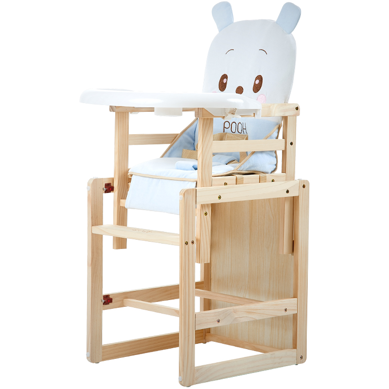 Multifunctional High Chair Portable Folding Solid Wood Baby Dining Chair Baby Baby Feeding Chair Rotary Plate Baby Chair 0-5T BB цена