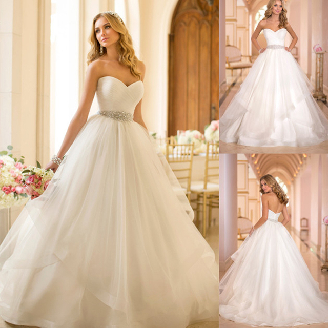 7901cd9a79e New Simple Elegant Ball Gown Wedding Dresses 2015 Appliques Long Wedding  Dresses Bridal Gowns Tulle Sweetheart
