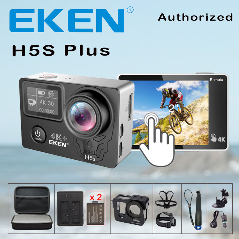 Экшн-камера EKEN H5S Plus, Ultra HD 4K Ambarella A12, Wi-Fi, 170, водонепроницаемая Спортивная камера для шлема