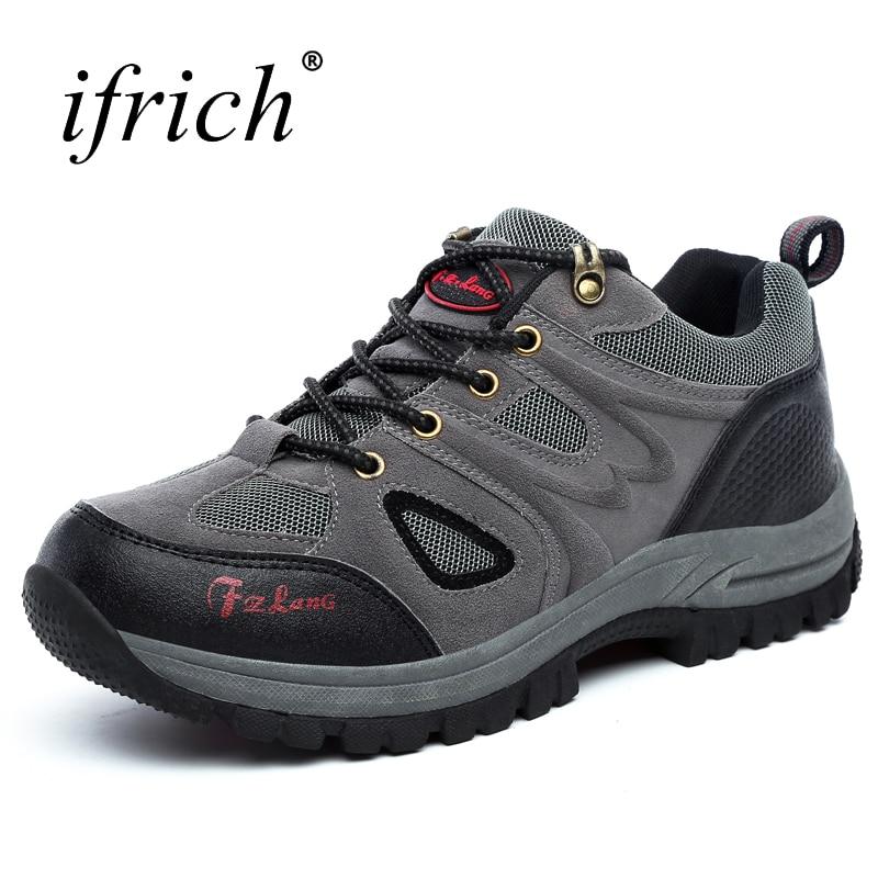 2019 Hombres calientes Mujeres Zapatos para caminar al aire libre Más / Tamaño grande 36 ~ 48 Marrón / Verde del ejército / Colores grises Usables Montañismo Zapatillas de deporte