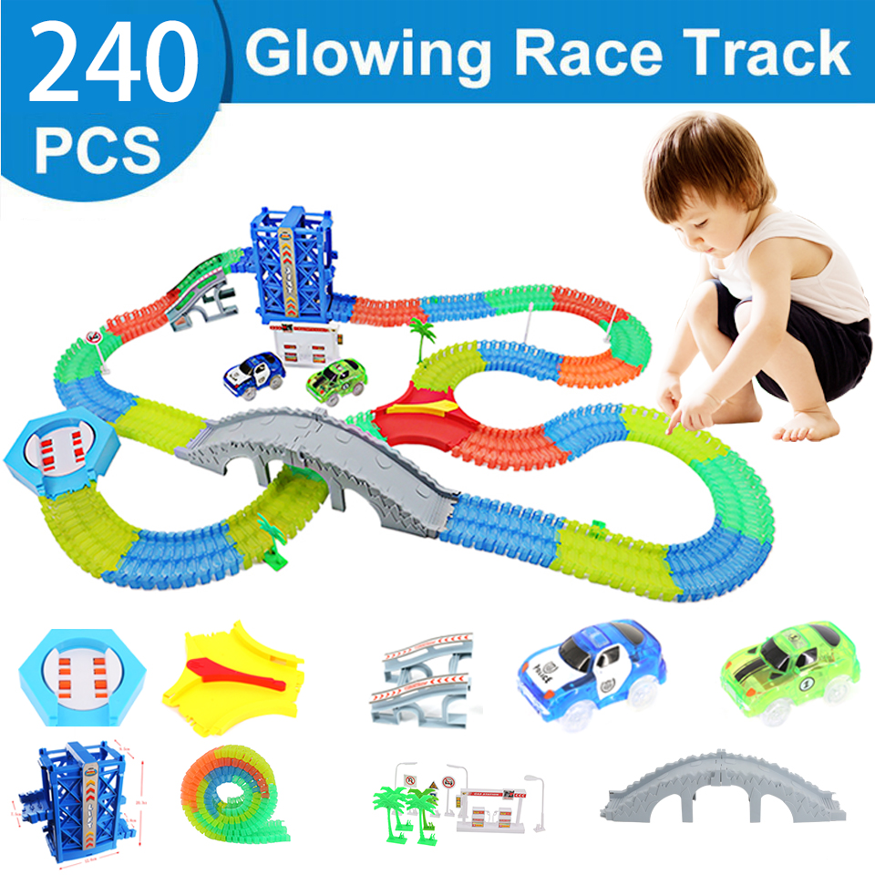 Curved Track Roller Coaster Toy Track Assembly Education Magic Glowing Racing Toy LED Car Flash Lifts Children' Educational Toys