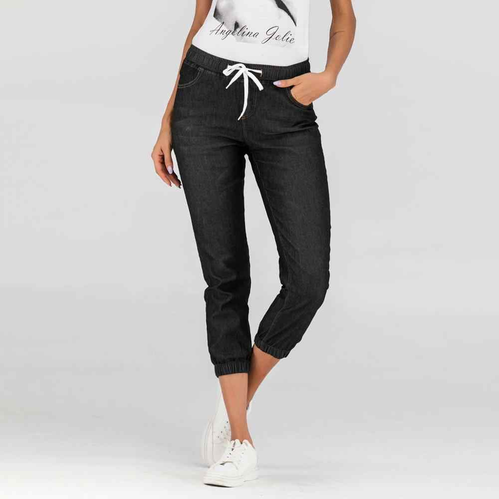 Summer Autumn Plus Size S-5XL Skinny Capris Jeans Woman Female Stretch Knee Length Denim Jeans Pants Women With High Waist