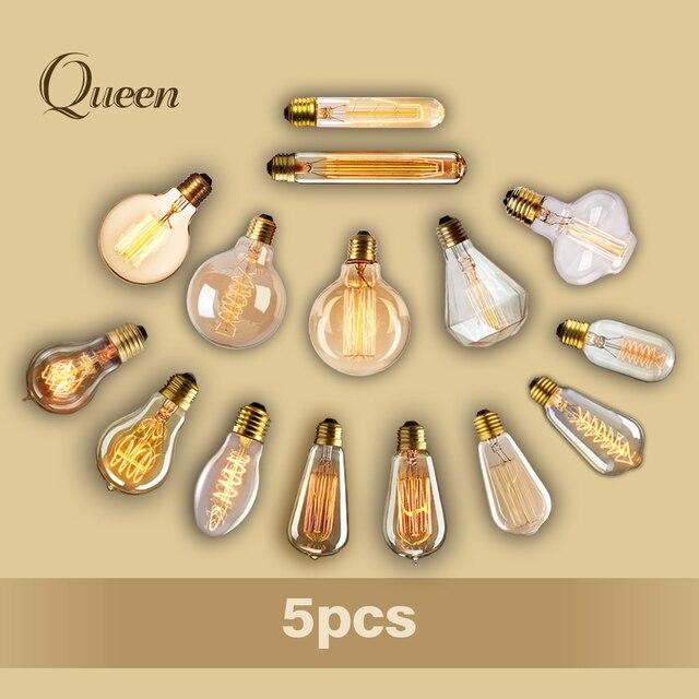 5pcs 40w lampada ampoule vintage edison bulb bombillas retro lamp incandescent edison light fixtures led lamp bulb fairy lights