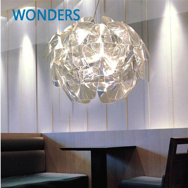 Современный светоотражающий короткий Скандинавский дизайн подвесной светильник Прозрачный акриловый цветок Hope столовое освещение кофе