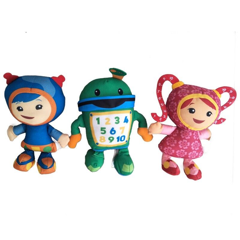 3 pçs/lote 20cm equipe umizoomi bot milli geo brinquedo de pelúcia boneca macio recheado brinquedos para crianças presentes natal