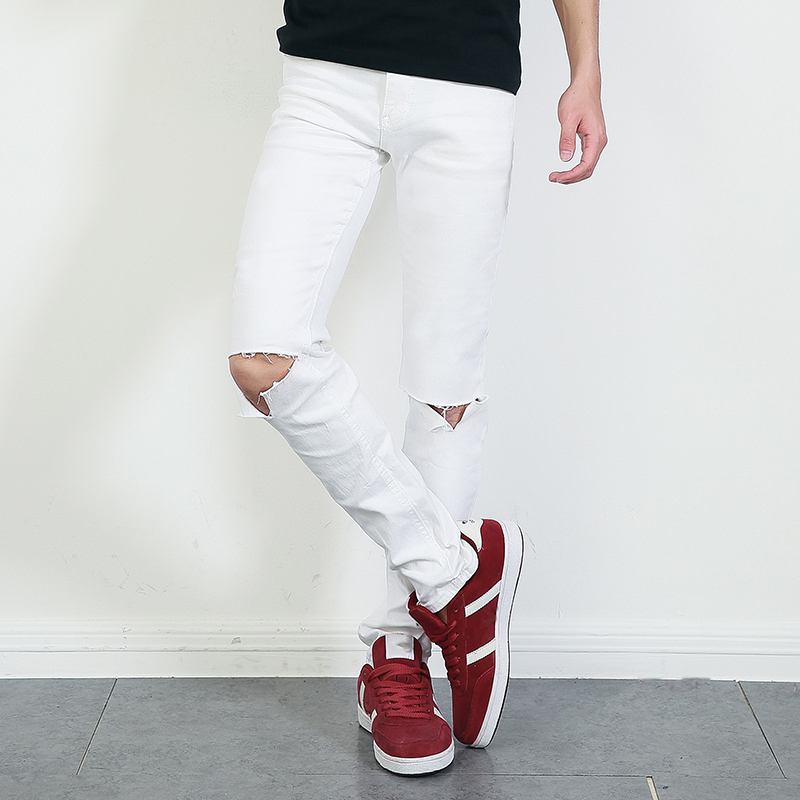 ФОТО New White Ripped Jeans Men With Holes  Pants For Male /Super Skinny Famous Designer Brand Slim Fit Destroyed Torn JeansMB16152