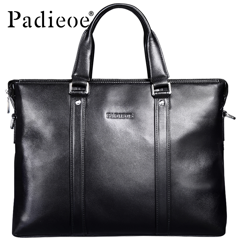 Padieoe Genuine Cow Leather Men's Handbags Casual Totes Luxury Men's Real Leather Shoulder Bags Business Men Male Bag Handbag