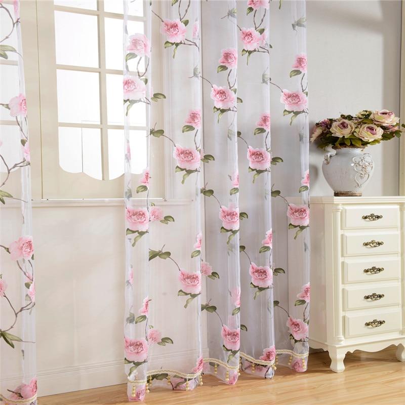 Nuevo  Textil del Hogar de la Flor Bordado de lujo 3D Ventana De Cortinas de tela de Tul Pura Cortinas Para La cocina Dormitorio sala de estar