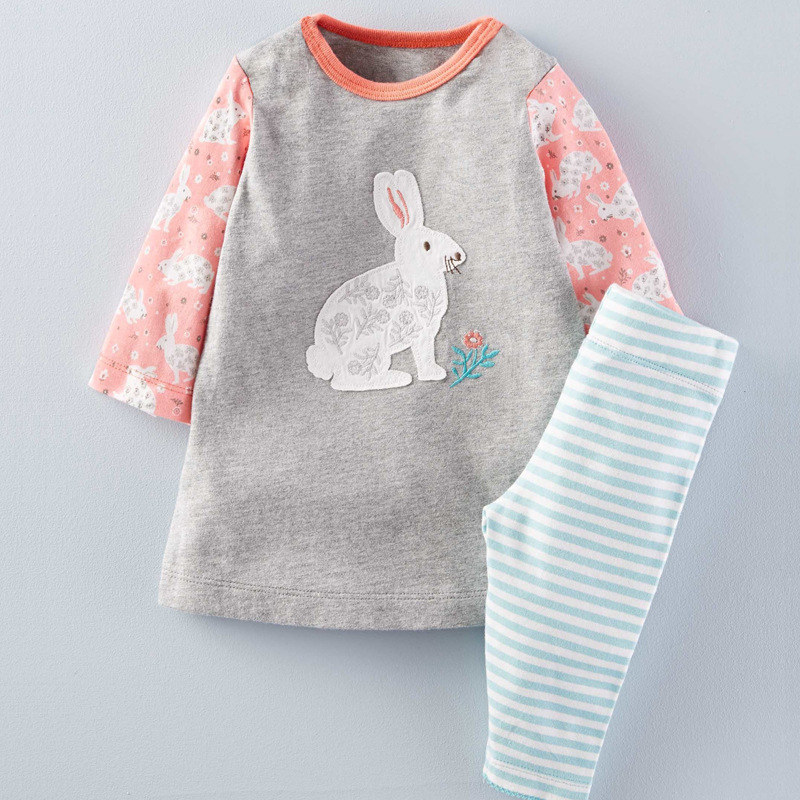 LST-09, Rabbit, 6setslot, wholesale children girls long sleeve clothing sets for 2-7T, 100% cotton