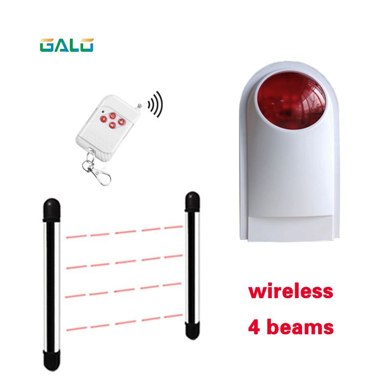 Wireless 4Beams Sensor Active Infrared Intrusion Detector IR 20m Outdoor Perimeter Wall Barrier Fence With Lamp Alarm