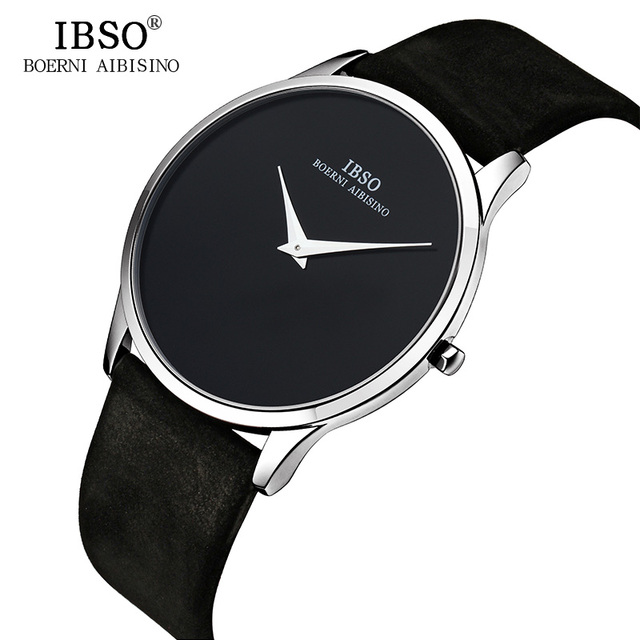 IBSO 7MM Ultra-thin Mens Watches Top Brand Luxury Genuine Leather Black Quartz Watch Men 2019 Simple Style Relogio Masculino