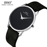 IBSO 7MM Ultra thin Mens Watches Top Brand Luxury Genuine Leather Black Quartz Watch Men 2018 Simple Style Relogio Masculino