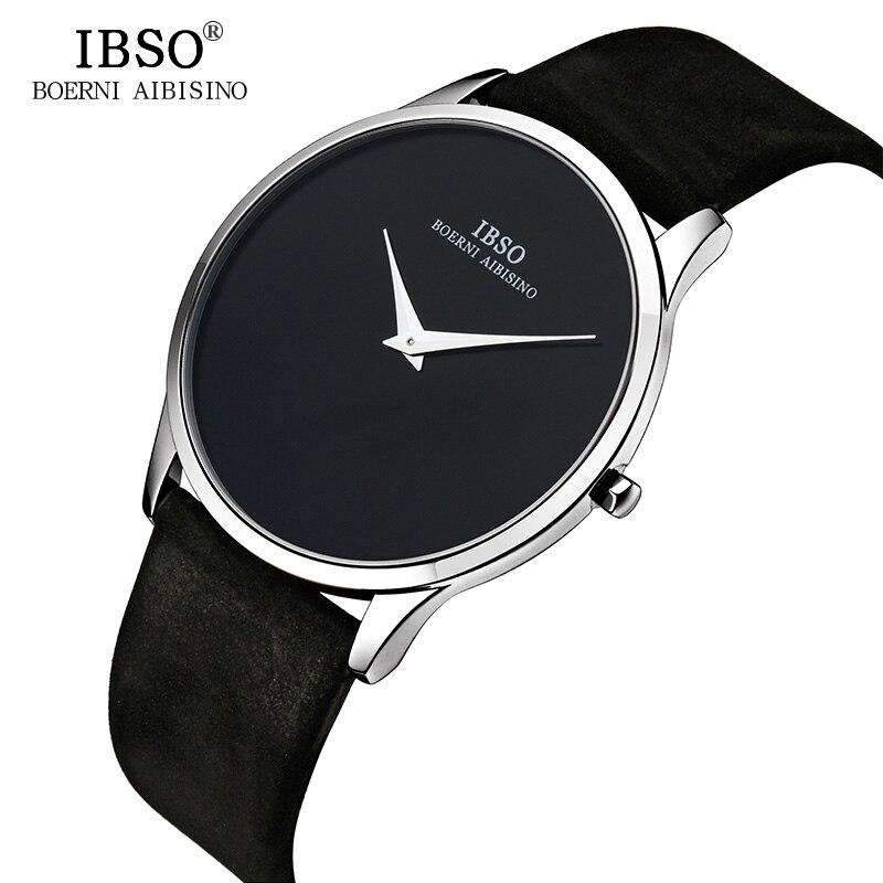 IBSO 7mm Ultra-mince Mens Montres Haut Marque De Luxe Véritable En Cuir Noir Quartz Montre Hommes 2018 Style Simple relogio Masculino